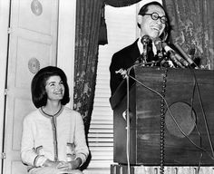 December 13, 1964: Jacqueline Kennedy at a press conference with the architect I.M. Pei, whom she has chosen to design the John F. Kennedy Presidential Library and Museum in Boston.