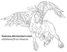 Free lineart friesian pegasus by Seenae on DeviantArt Horse Coloring Pages, Adult Coloring Book Pages, Colouring Pages, Coloring Books, Horse Drawings, Animal Drawings, Realistic Hair Drawing, Unicorn Art, Evil Unicorn