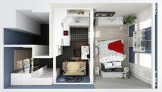 планировка дизайна маленькой студии 25 кв. м.