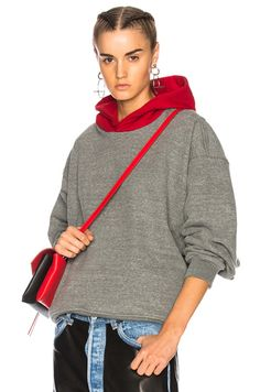 sale retailer f34ee c06fd Shop for Fear of God Everyday Hoodie in Red   Heather Grey at FWRD.