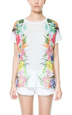 Image 1 of T-SHIRT WITH FLORAL SIDES from Zara