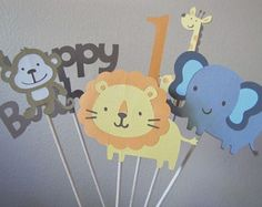 Safari themed centerpiece safari birthday by PoshPartyPatterns