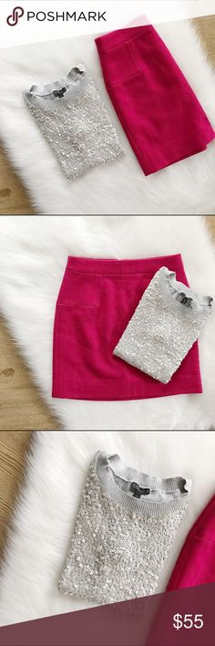 J.Crew Factory Wool Skirt + Express Sequin Top J.Crew Factory Wool Skirt + Express Sequin Top. Skirt is strawberry color, size 00, mini, brand new with tags, 70% wool. Top is silver sequined pattern, size XS, fitted, brand new without tags. Get them separately in my closet or get them here as a bundle.         🌷Take 10% off 2 items or more!🌷    🎉I. A M. A. S U G G E S T E D. U S E R🎉                    C L O S E T. R U L E S                   •no trading + FINAL PRICE…