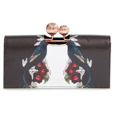 Women's Ted Baker London Emeleyy Leather Matinee Wallet (220 CAD) ❤ liked on Polyvore featuring bags, wallets, black, floral wallet, genuine leather wallet, leather credit card holder wallet, floral leather wallet and leather kiss lock wallet