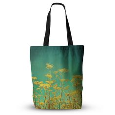 """Sylvia Cook """"Yellow Flowers"""" Teal Sky Everything Tote Bag from KESS InHouse"""