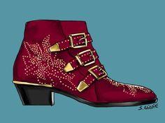 Die Nieten und Schnallen dieser Stiefelette verleihen Rock-Glam, der schräge Absatz und die Kappenform stehen für den Western-Charme.