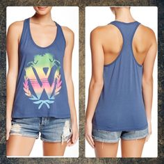 ❤️Valentine Sale❤️Wildfox baggy boy tank size sm WILDFOX  Rainbow Logo Baggy Boy Tank in Midnight. Very soft! Approximate twenty inch length. ❤️Sale price is firm unless bundled ❤️ Wildfox Tops Tank Tops