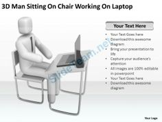 3D Man Sitting on Chair Working on Laptop Ppt Graphic Icon #Powerpoint #Templates #Infographics