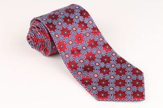 VIBRANT Robert Talbott Best of Class EXTRA LONG Metallic Red Blue mens Tie