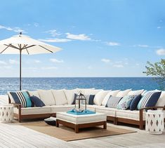 Universal 4-Piece Low Platform Sectional Cushion Set (1 cnr + 3 armless), Outdoor Canvas, Stone