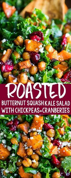 I'm beyond obsessed with this Roasted Butternut Squash Kale Salad topped with honey roasted cranberries and crispy seasoned chickpeas. It's healthy and delicious! salad Roasted Butternut Squash Kale Salad with Chickpeas and Cranberries Healthy Salad Recipes, Vegetarian Recipes, Dinner Salads Healthy, Healthy Cooking Recipes, Meat Recipes, Dinner Salad Recipes, Grilled Recipes, Vegan Meals, Pasta Recipes