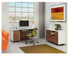 BDI Format- Mobile Credenza and Desk in Natural Walnut and Satin White #office #furniture #desk #credenza