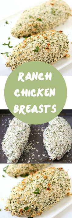 Ranch Chicken Breasts - Juicy and tender on the interior, flavorful and crunchy on the exterior. Made with only 4-ingredients! A family favorite. We love our chicken recipes. Skip the chicken casserole and make these instead!