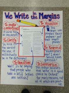 Anchor chart write in the margins ela anchor charts, close reading, language arts, 6th Grade Reading, 6th Grade Ela, Middle School Reading, Fourth Grade, Third Grade, 8th Grade Writing, Middle School English, Ela Anchor Charts, Reading Anchor Charts