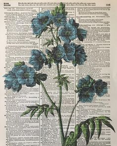 Blue Flower, Vintage Blue Flowers, Blue Art, 8x10 Vintage Floral Wall Art Dictionary Prints, Dictionary Art, Blue Flower Prints,