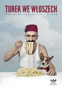 Poster for 'The Turk in Italy' opera at Grand Theatre in Warsaw