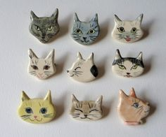 Ceramic Jewelry, Ceramic Clay, Clay Jewelry, Ceramic Pottery, Jewellery, Polymer Clay Creations, Polymer Clay Crafts, Diy Clay, Clay Cats