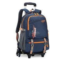 ZIRANYU Detachable Rolling Children School Shoulder Bag Luggage Trolley Bags with 6 Durable Wheels - Orange