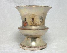 $15.00 Queens Art Pewter Toothpick Holder - Urn or Mini Vase - Keepsake Collectible - Vintage 40s