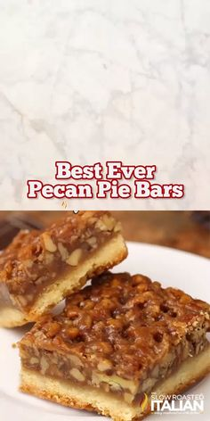 Mar 2019 - Best Ever Pecan Pie Bars are so good people offer to pay me for them. A fabulous recipe with a caramelized pecan pie set atop a shortbread crust is the absolute perfect nut bar. My family requests more of this dessert than any other every year. Dessert Dips, Best Dessert Recipes, Sweet Recipes, Holiday Recipes, Dessert Food, Quick Dessert, Easy Recipes, Recipes Dinner, Holiday Desserts