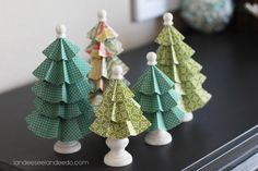 DIY Christmas Decorations : DIY Festival of Trees: Folded Paper Trees Tabletop Christmas Tree, Christmas Love, Winter Christmas, All Things Christmas, Christmas Decorations, Christmas Ornaments, Christmas Trees, Cheap Christmas, Christmas Centerpieces