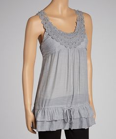 Take a look at this Silver Lace Yoke Tank on zulily today!