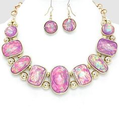 Violet Purple OpaL Bead Silver Pearl Chain Statement Necklace Set