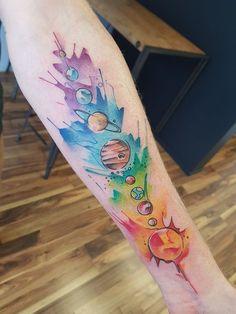 Solar System tattoo by Ali at Serpents Ink, Gold Coast, QLD, Aust Full Sleeve Tattoo Design, Full Sleeve Tattoos, Space Tattoo Sleeve, Pride Tattoo, Solar System Tattoo, Planet Tattoos, Gold Tattoo, Tattoo Ink, Arm Tattoo