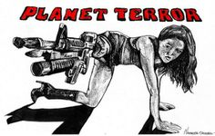 Pen & ink By the Caswell Twins Http://www.facebook.com/vanashartwork #realism #inkdrawing #sharpiedrawing  #draw #greyscale #movie  #filmart #dynamicduos #realisticdrawing #spooky #scary #horror #horrorfilm #planetterror #machinegun #rose