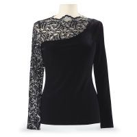 Velvet and Metallic Lace Top - This NEEDS to be in my closet!