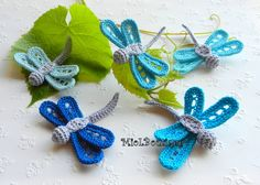 Price for one Crochet dragonfly!  Make your accessories unique - add them to your hair clips, bag, headband, clothing, fingerless, socks or make it as a brooch and hair accessories.