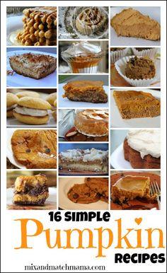 16 Simple Pumpkin Recipes!