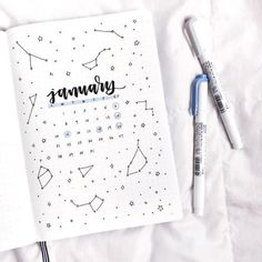✨constellation theme for january✨. ✨constellation theme for january✨ bullet journal inspiration, journal ideas Bullet Journal Inspo, Doodle Bullet Journal, January Bullet Journal, Bullet Journal Cover Page, Bullet Journal Aesthetic, Bullet Journal Notebook, Bullet Journal Spread, Journal Covers, Monthly Bullet Journal Layout