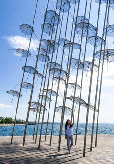 Umbrellas in Nea Paralia Thessaloniki - Greece Alexander The Great Statue, Greek Girl, Street Musician, Big Town, Thessaloniki, Greek Islands, Listening To Music, Umbrellas, Athens