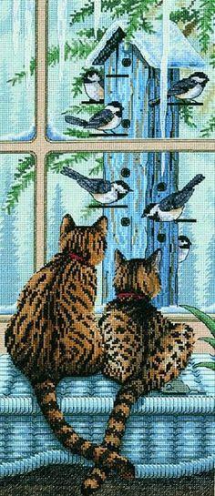 """Скачать Вышивка """"Кто за кем наблюдает?"""" бесплатно. А также другие схемы вышивок в разделах: Katten, Afmeting, Huisdieren, Winter, Gevogelte"""
