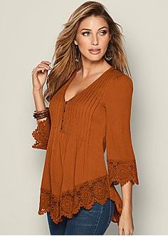 Long Sleeve Tops - Off Shoulder, Paisley Print, Surplice