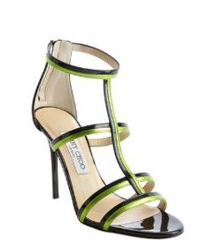 Jimmy Chooblack and lime patent leather t-strap 'Thistle' sandals