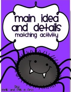 This is a hands on activity for students to demonstrate their understanding of main idea and details. this activity students read non-fiction texts about spiders and are then asked to sort the main idea from the 3 supporting details. Reading Resources, Reading Strategies, Reading Activities, Reading Skills, Teaching Reading, Reading Games, Reading Art, Reading Lessons, Educational Activities