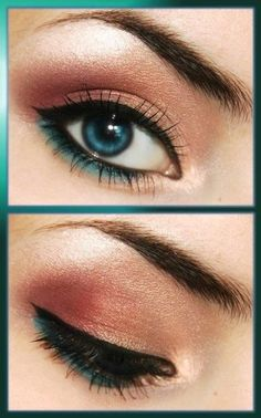 Pretty peach & blue eyes make up! Prom? @Taylre McMaster