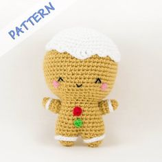 Christmas Crochet Amigurumi Pattern (PDF) - Ginger the Gingerbread Man
