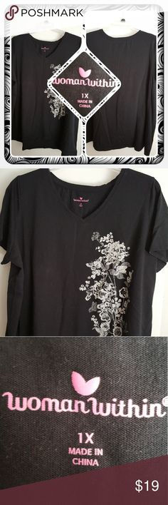 ❤ Woman's Black V Neck Tee Size 1X ❤ Woman's Black Tee From Woman Within. This Top Has A V Neck And Slight High Low Effect Size 1X. I Wore Once Or Twice No Damage Excellent Pre Loved  Condition 🚫 PAYPAL 🚫 TRADES 🚫 OFFERS PRICED TO SELL ❤ Woman Within Tops Tunics