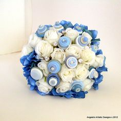 Blue and Cream Rose Button Bouquet alternative by AngelasArtistic, $68.00