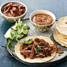 Asian duck tacos, shows how more and more chefs are combining seemingly unrelated cuisines. Store-bought confit duck legs make these tacos really easy. Another shortcut: crisping the skin in a microwave. Chicken Taco Recipes, Duck Recipes, Wine Recipes, Mexican Food Recipes, Cooking Recipes, Ethnic Recipes, Mexican Dishes, Quail Recipes, Rabbit Recipes