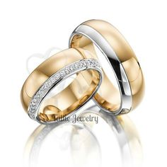 10K TWO TONE MATCHING HIS & HERS WEDDING BANDS Metal : 10K Solid Two Tone Gold Width : 7mm/7mm Finish : Satin Finish & High Polish Fit : Comfort
