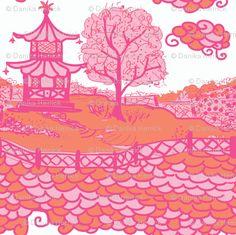pink & orange pagoda fabric