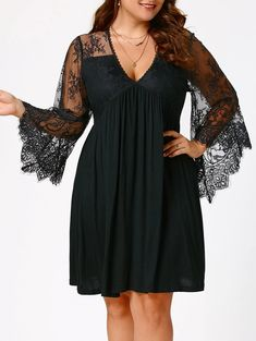 Autumn Empire Waist Plus Size Tunic Women Lace Dress Flare Sleeve V Neck Knee Length Women Dress Robes Vestidos Size XL Color Black Mini Dress With Sleeves, Lace Sleeves, Plus Size Tunic Dress, Jumper Outfit, Vestidos Plus Size, Plus Size Cocktail Dresses, Plus Size Holiday Dresses, Vetement Fashion, Vestidos Vintage