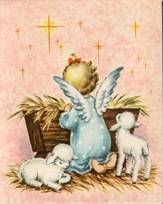 1940 50s VTG Christmas Card With Girl Angel Lamb IN Manger | eBay