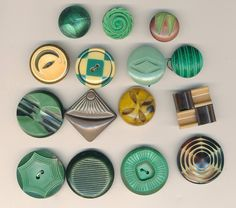 Green with envy - vintage celluloid and plastic buttons lot of 15 for $20 - see my etsy shop AnnieFrazier