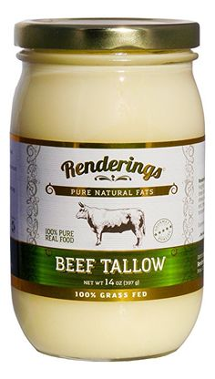 Renderings Beef Tallow, 100% Grass Fed, Premium Gourmet Cooking Oil, 14 oz