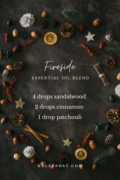 Winter Fireside Essential Oil Blend DIY Make your home warm and cozy with this DIY Essential Oil blend. With sandalwood, cinnamon, and patchouli essential oils, this blend smells like snuggling beside a glowing fireplace. Fall Essential Oils, Sandalwood Essential Oil, Essential Oil Diffuser Blends, Essential Oil Uses, Young Living Essential Oils, Essential Oil Christmas Blend, Best Smelling Essential Oils, Ana White, Stress
